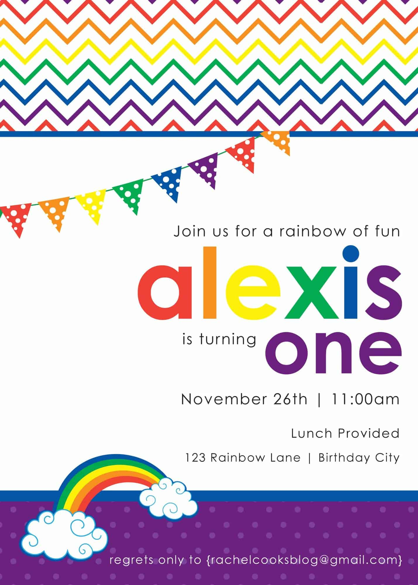 rainbow birthday party ideas for a st birthday {giveaway, Birthday invitations