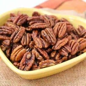 Some of the best spiced pecans you'll ever taste! This spiced pecan recipe is a keeper. Find it on RachelCooks.com