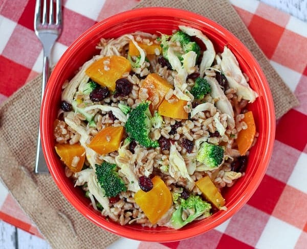 Farro salad with Chicken, Beets, and Broccoli - Healthy and hearty, this unique salad will be a new favorite! Get the recipe on RachelCooks.com