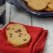 Melt-in-your-mouth Gingerbread Shortbread Cookies with Cranberries - Get the recipe on RachelCooks.com