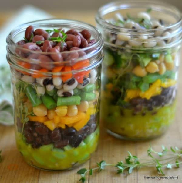 Layered 7-Bean Salad in a Jar from theviewfromgreatisland.com