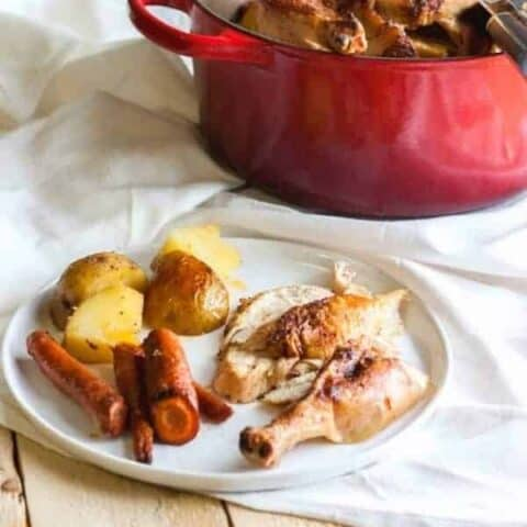 Sliced roast chicken on white plate along with potatoes and carrots.