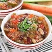 Slow Cooker Minestrone with Quinoa - get the recipe on RachelCooks.com