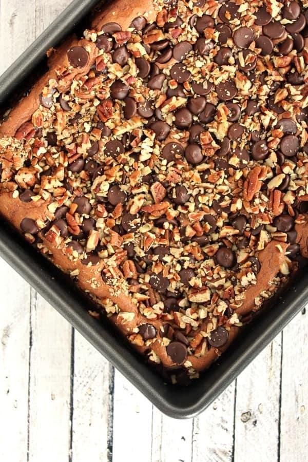 EASIEST DOUBLE CHOCOLATE PECAN CAKE - on RachelCooks.com