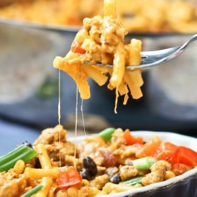 Southwestern Macaroni and Cheese with Ground Turkey - Get the recipe on RachelCooks.com