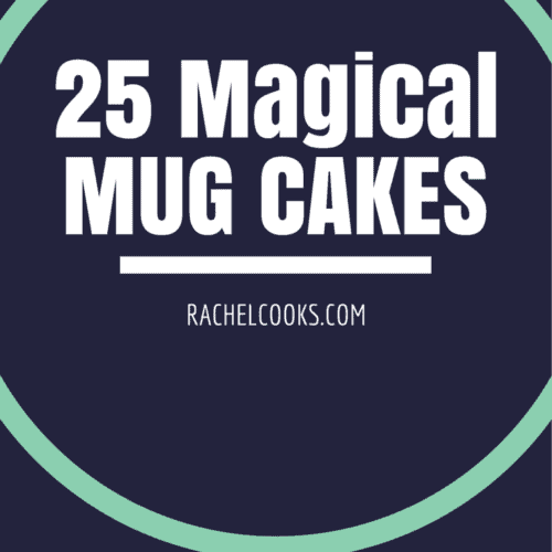 """Large turquoise ring on navy back ground. Inside the ring are the words: """"25 magical mug cakes, RachelCooks.com."""""""