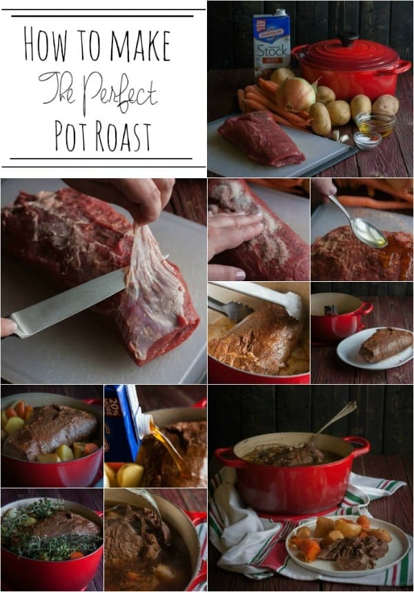 """A collage of 11 photos detailing the process of making a pot roast from start to finish. Also included is text, """"How to make the perfect pot roast."""""""