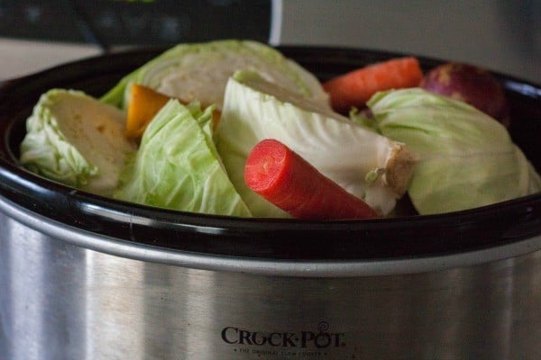 Slow Cooker Corned Beef and Cabbage -- a showstopper of a meal all in one slow cooker! The kids will love the rainbow carrots! Get the recipe on RachelCooks.com