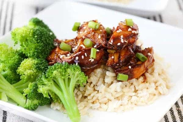 Boneless skinless chicken breasts and homemade teriyaki sauce served over rice or quinoa make this crock pot teriyaki chicken a perfect weeknight meal.