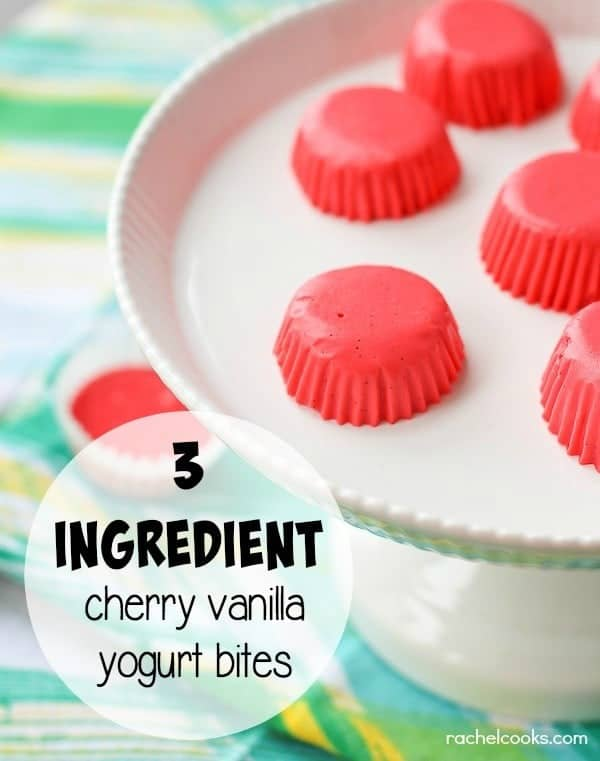 Cherry Vanilla Yogurt Bites - only 3 ingredients in this protein packed snack. Great for kids! Get the easy recipe on RachelCooks.com