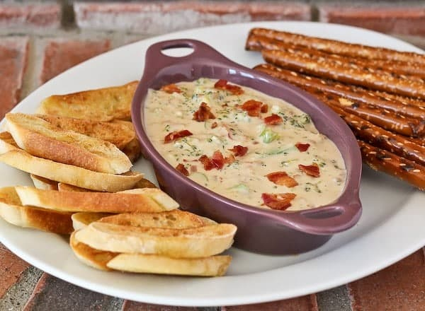 Broccoli and Bacon Beer Cheese Dip - get the party perfect recipe on RachelCooks.com!