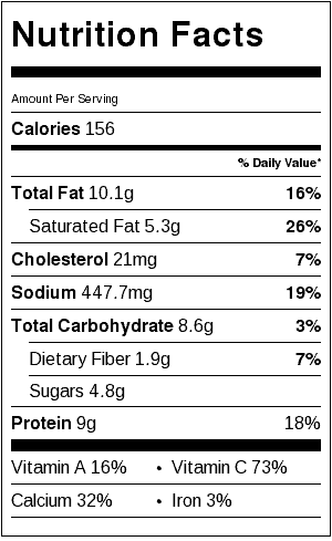 cauliflower alfredo nutritional label