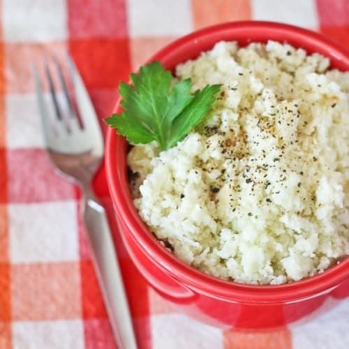 How to make Cauliflower Rice - a healthy alternative to rice - get the cauliflower rice recipe on RachelCooks.com!