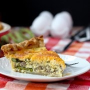 Turkey Sausage and Asparagus Quiche - get the easy recipe that's perfect for brunch on RachelCooks.com!