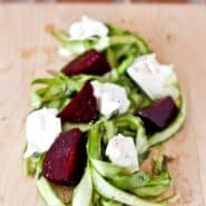 Asparagus Ribbon Salad with Beets and Burrata - get the easy recipe (perfect for entertaining!) on RachelCooks.com!