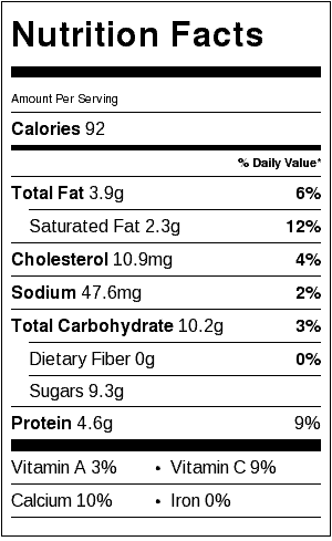 Creamy Lemon Smoothie Nutrition Label