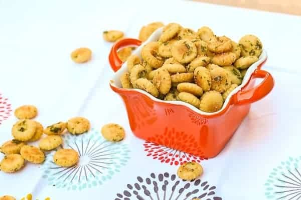 Seasoned Oyster Crackers - get the easy and addictive recipe on RachelCooks.com