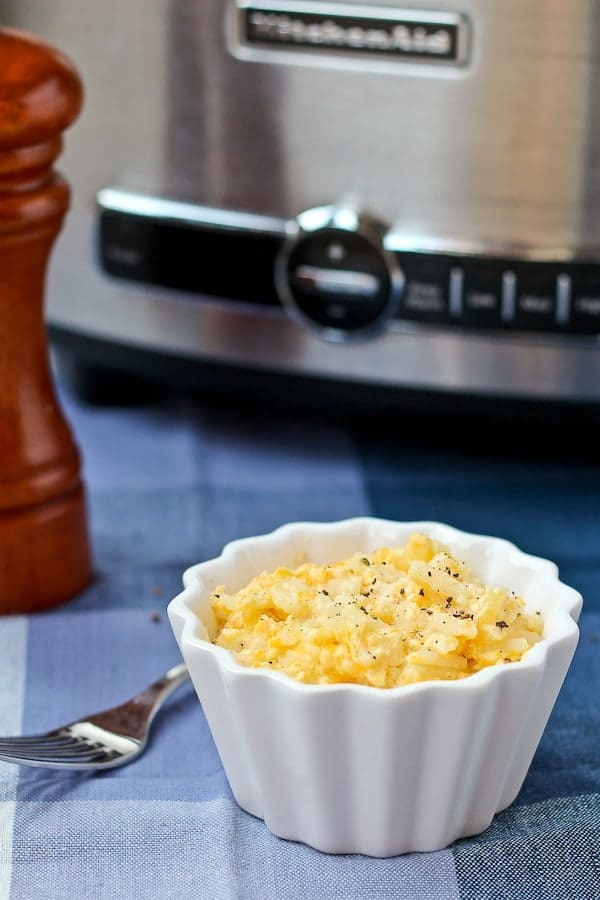 Crockpot cheesy potatoes are a classic dish for potlucks and holidays, made easier by cooking them in a slow cooker. More room in the oven for more food!