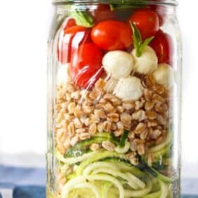 Zucchini Noodle Mason Jar Salad with Farro and Mozzarella - get the perfect lunch recipe on RachelCooks.com!