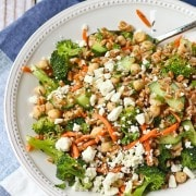 Farro Salad with Za'atar and Broccoli - This unique salad is perfect to eat as a meal or as a side dish. Get the easy recipe on RachelCooks.com!
