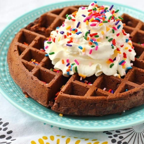 Brownie Waffles - Brownies in less than 6 minutes from start to finish. Get the EASY recipe on RachelCooks.com!
