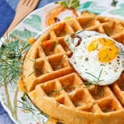 Savory Waffles with Cheddar, Dill and Ham - get the delicious savory waffle recipe on RachelCooks.com!