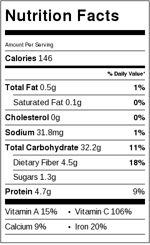 Dill Potato Salad Nutrition Label