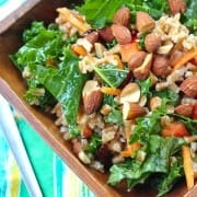 This kale salad keeps really well in your fridge - great for healthy eating all week! The honey dijon dressing softens the kale perfectly. Get the healthy recipe on RachelCooks.com. Great for weekly meal prep fans!
