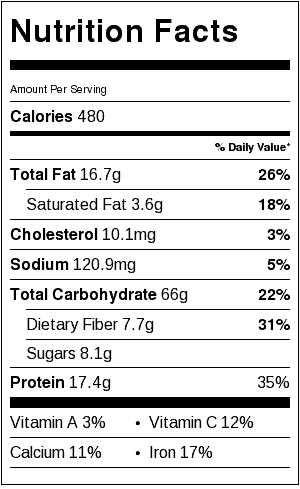 greek pasta salad nutrition label