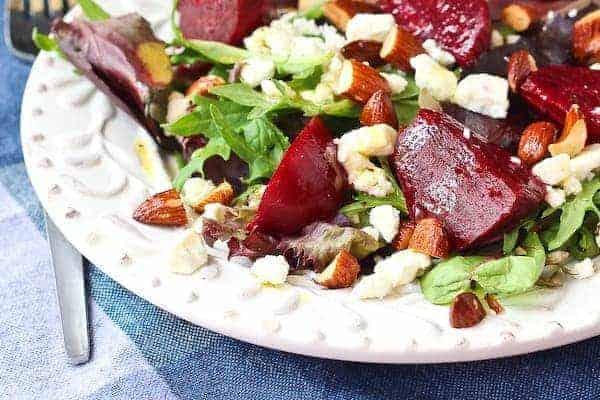 Closeup of salad arranged on plate.