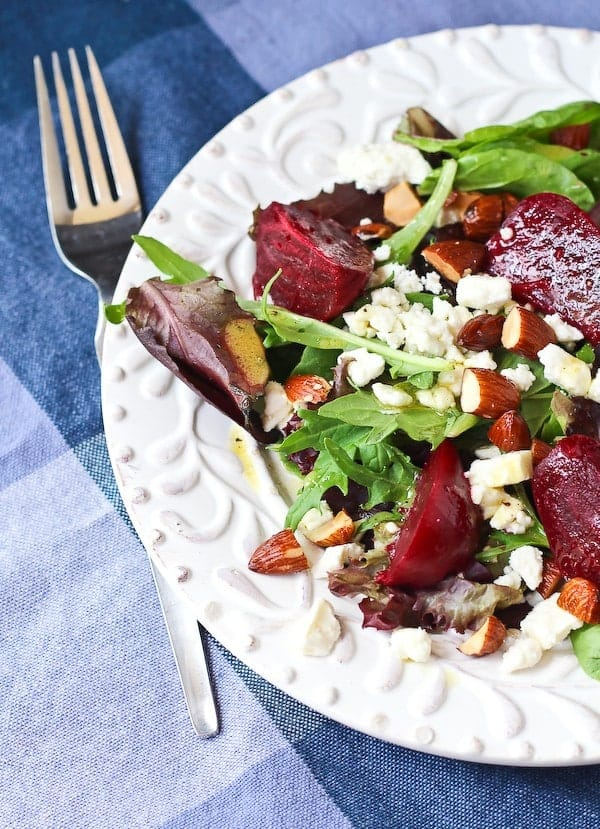 Salad with Beets and Feta with Dijon Vinaigrette - aka your lunch today. You'll love the the combination of the salty feta and the earthy beets. Get the recipe on RachelCooks.com!