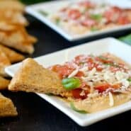 Pepperoni Pizza 6 Layer Hummus Dip - great for school lunches! Get the easy recipe on RachelCooks.com!