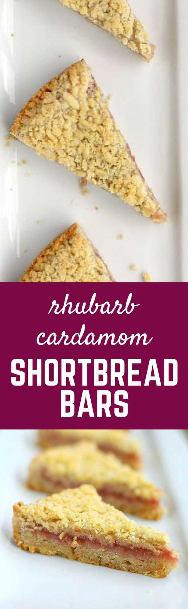 Rhubarb Cardamom Shortbread Bars - a classy, flavorful shortbread bar...perfect for brunches! Get the recipe on RachelCooks.com!