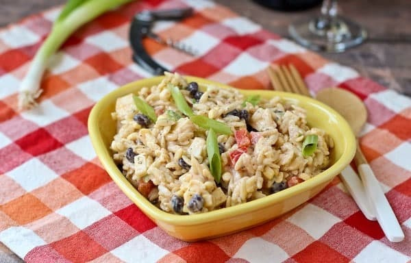 This creamy southwestern orzo salad is the perfect blend of spicy, creamy, and crispy. The bold flavors make this salad not only a crowdpleaser at gatherings, but also a great lunch! Get the recipe on RachelCooks.com!