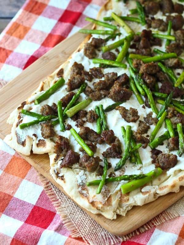 ... you grill a pizza like this Grilled Pizza with Ricotta, Asparagus