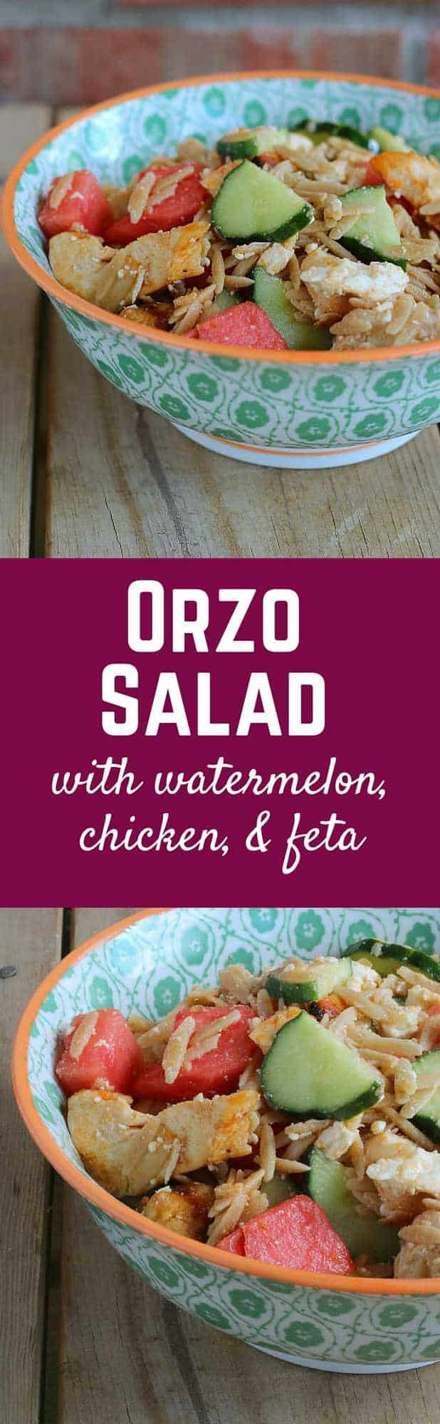 Orzo Salad with Chicken, Watermelon and Feta - Get the refreshing and flavorful summer recipe on RachelCooks.com!