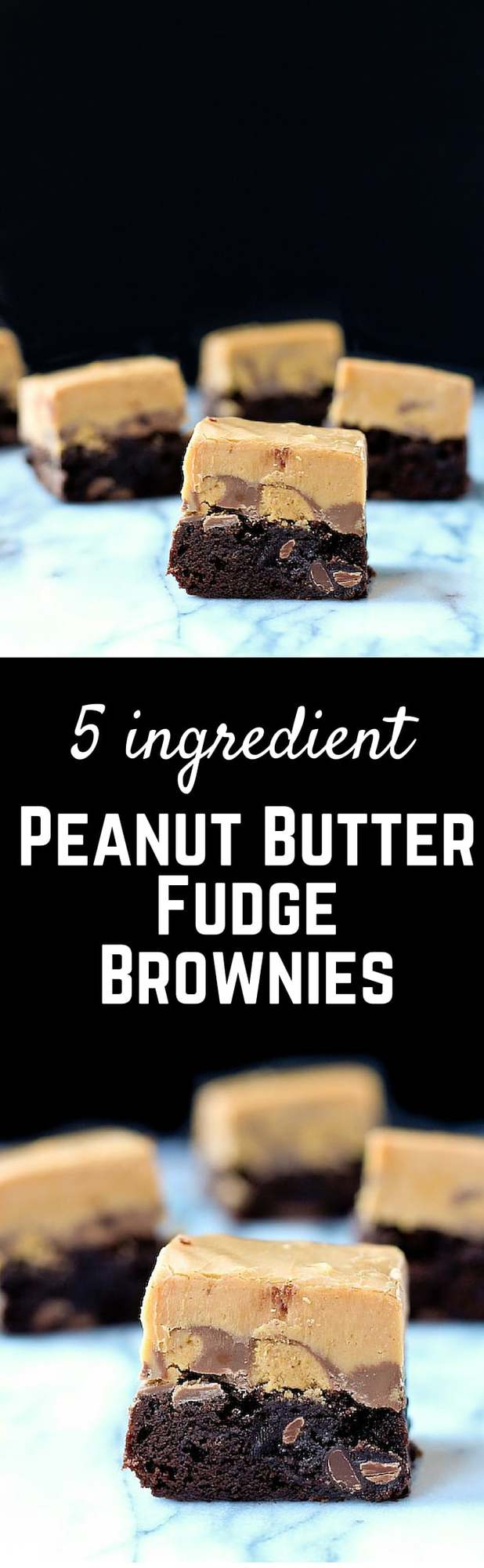 Peanut Butter Fudge Brownies - the ultimate decadent treat for people who love peanut butter and chocolate! Get the easy recipe on RachelCooks.com!