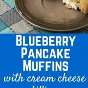Blueberry Pancake Muffins with Cream Cheese Filling - the perfect breakfast or brunch recipe! Get it on RachelCooks.com!