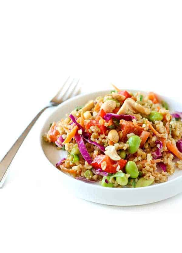 Thai Freekeh Salad with Peanut Ginger Dressing