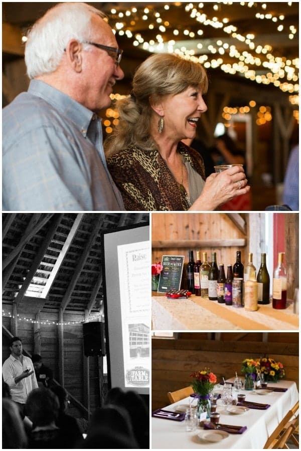 Collage of 4 photos taken at farm dinner and concert: older couple enjoying a drink; bottles of wine on table; beautifully set table with flower centerpieces, Luke Bryant at concert