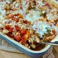 Healthy Stuffed Pepper Casserole with Cheddar