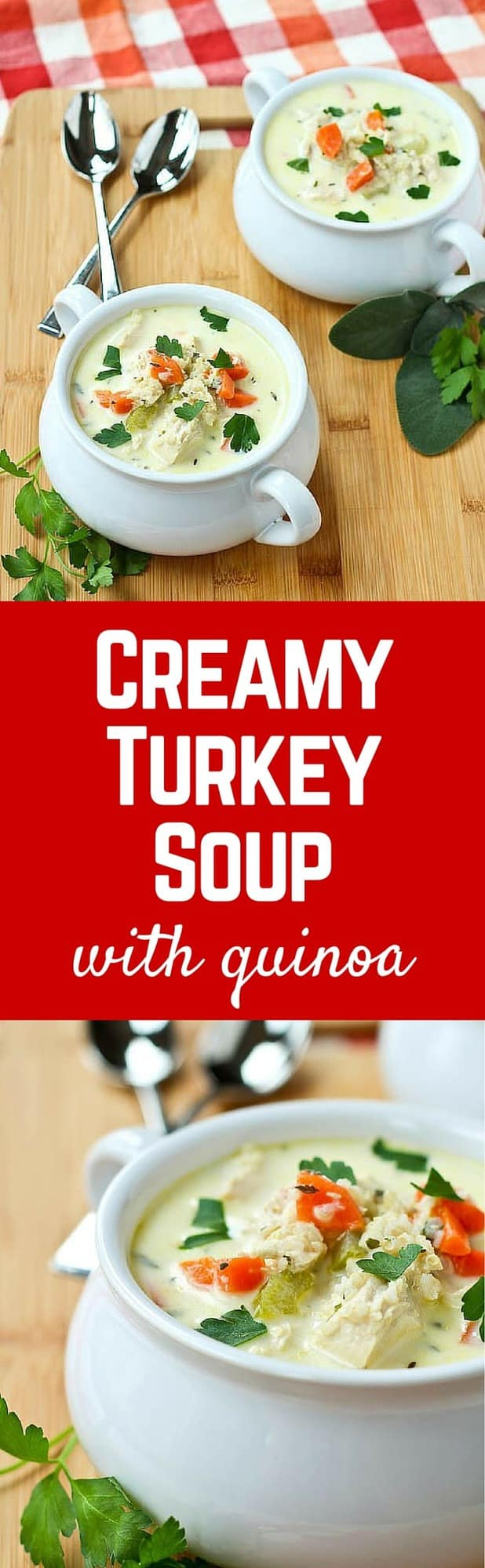 This Creamy Turkey Soup with Quinoa is easy to make and is a healthy and hearty way to repurpose leftover turkey. It tastes great when you make it with chicken too! Get the recipe on RachelCooks.com!