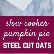 These slow cooker pumpkin pie steel cut oats are perfect for fall (or any time of year) and couldn't be easier to make. Who wouldn't want to wake up to a hot breakfast? Get the easy recipe on RachelCooks.com!