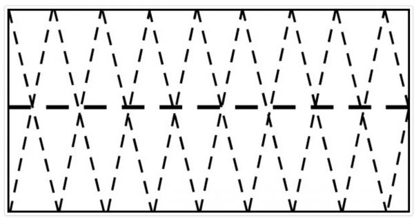 Simple graphic showing how to cut rectangle into several triangles.