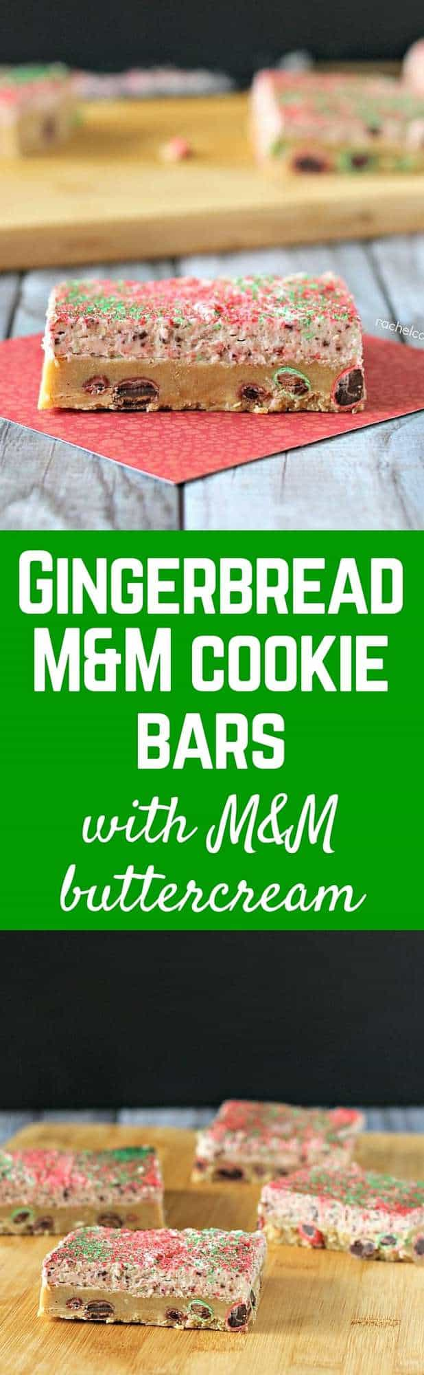 With M&M's in both the bars and the frosting, these Gingerbread M&M Cookie Bars with Gingerbread M&M Buttercream will be your new go-to Gingerbread recipe. Get the recipe on RachelCooks.com!