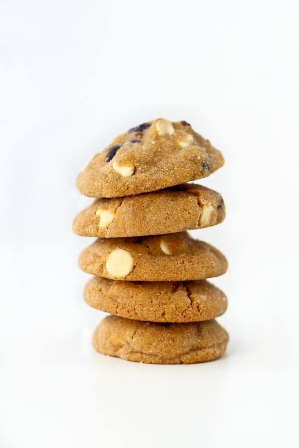 These aren't your average gingersnap cookies - you'll love the additions of creamy white chocolate and chewy dried cranberries. Get the easy recipe (perfect for Christmas!) on RachelCooks.com!