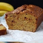 This whole wheat banana bread uses very little oil and 100% whole wheat flour. The caramel bits add the perfect touch of sweetness. Get the easy quick bread recipe on RachelCooks.com!