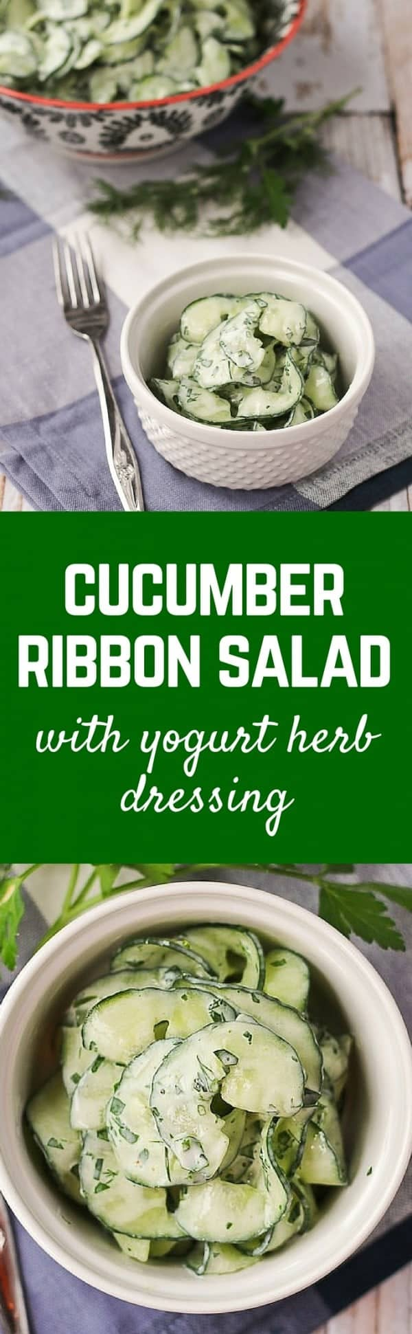 Cucumber Salad with Fat-Free Yogurt Herb Dressing - Get the easy salad recipe on RachelCooks.com