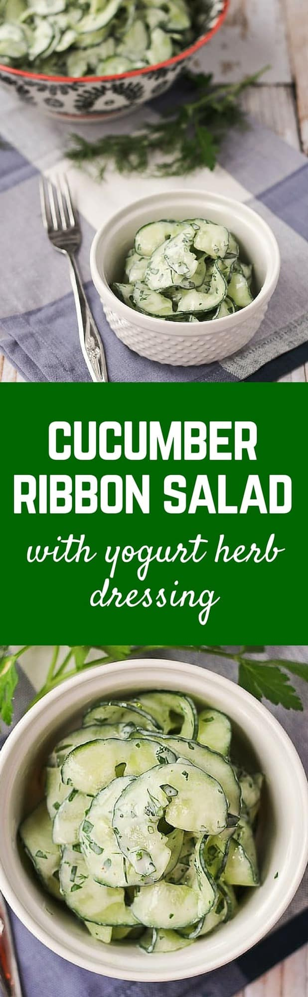Cucumber Salad with Fat-Free Yogurt Herb Dressing - Get the easy salad recipe on RachelCooks.com