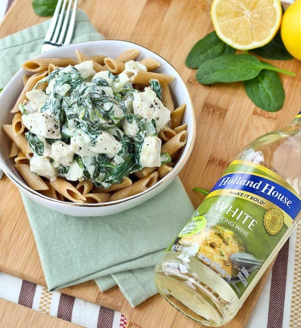 This chicken and spinach pasta with lemon cream sauce is perfect for quick and elegant entertaining, or an easy weeknight meal. Get the recipe on RachelCooks.com!